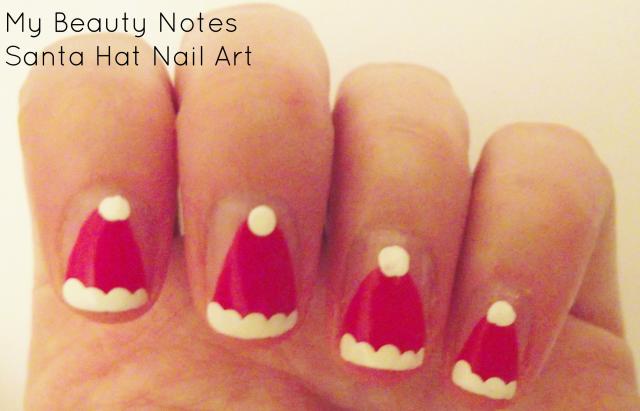 Santa Hat Nail Art with title