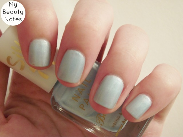 Barry M Silk Polish in Mist matte shimmer pale blue nail polish swatch my beauty notes blog summer