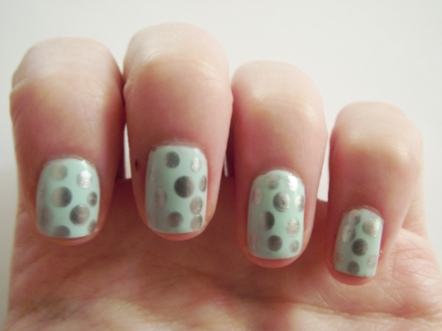 Mint and silver nails 1