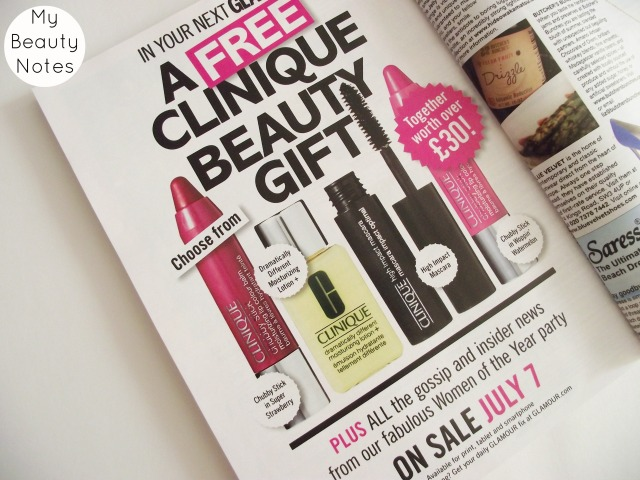 august 2014 glamour magazine clinique freebies my beauty notes blog uk